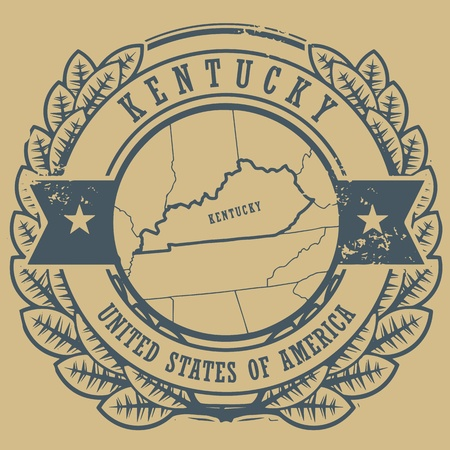 Grunge rubber stamp with name and map of Kentucky, USA Vector