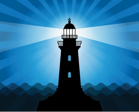 lighthouse beam: Lighthouse silhouette on abstract sea background Illustration