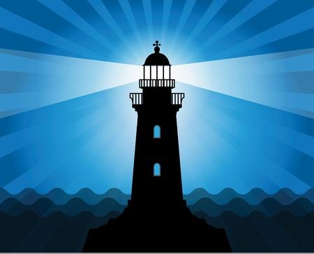 Vuurtoren silhouet op abstracte achtergrond van de zee Stock Illustratie
