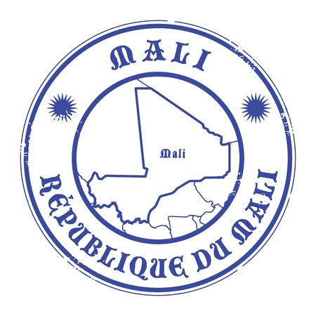 Grunge rubber stamp with the name and map of Mali Vector