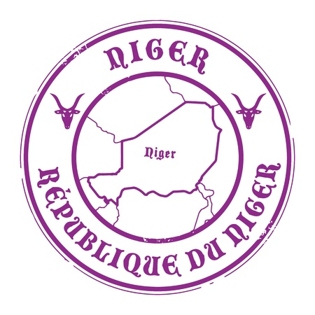 Grunge rubber stamp with the name and map of Niger Vector