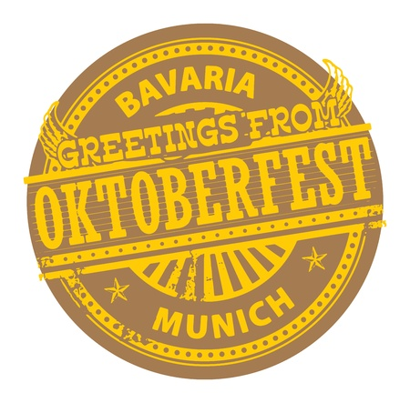 Grunge color stamp with text Greetings from Oktoberfest, Bavaria Vector