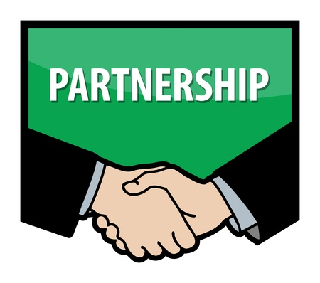 Business handshake and text Partnership Vector