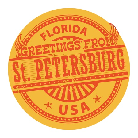St  Petersburg: Grunge color stamp with text Greetings from St  Petersburg, Florida Illustration