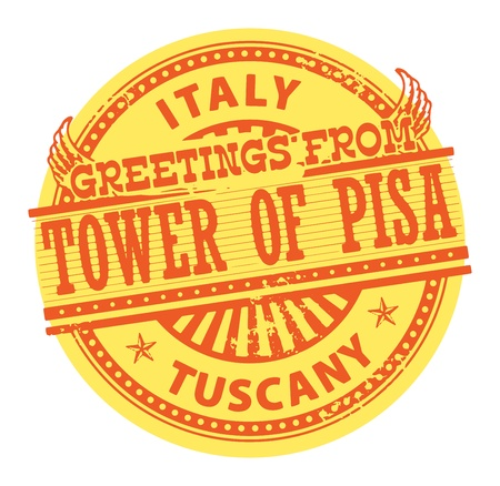 Grunge color stamp with text Greetings from Tower of Pisa, Tuscany Vector