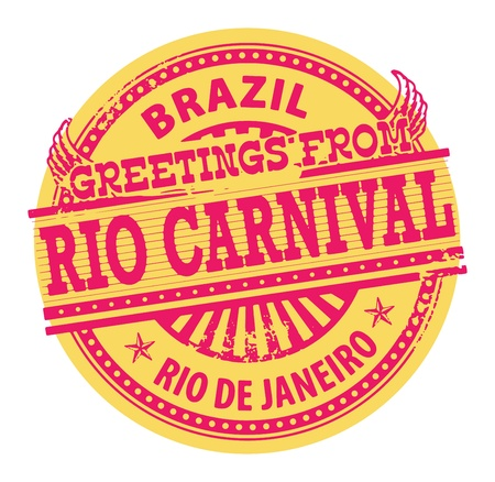 rio: Grunge color stamp with text Greetings from Rio Carnival, Brazil
