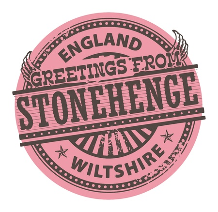 stonehenge: Grunge color stamp with text Greetings from Stonehenge, England
