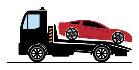 cartoon truck: Coche de Salvamento y signo de remolque Vectores