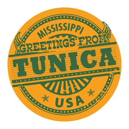 Grunge color stamp with text Greetings from Tunica, Mississippi