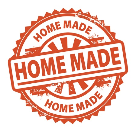 home products: Abstract grunge rubber stamp with the text Home Made written inside the stamp Illustration