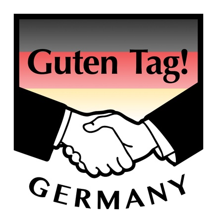 guten tag: Germany flag and business handshake