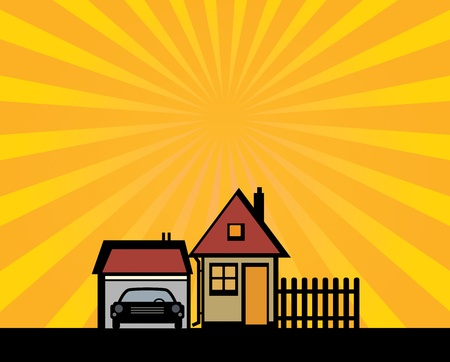 garage: Houses and garage silhouette on abstract background