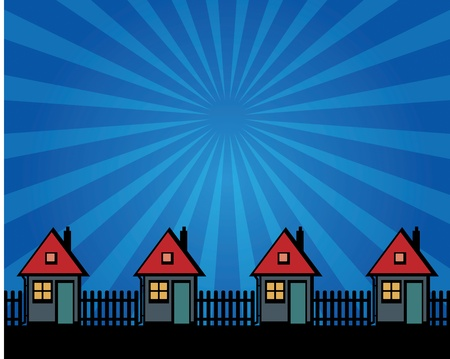 Houses silhouettes on abstract background