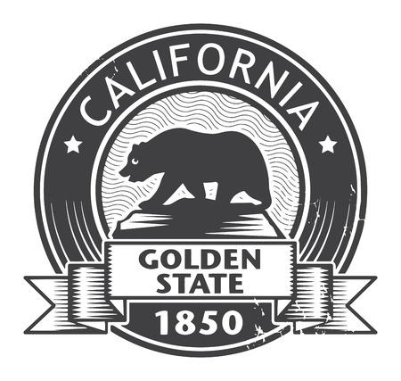 Grunge stempel of etiket met de naam van Californië