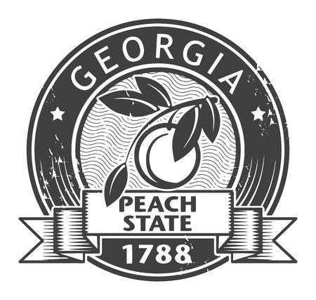 georgia: Grunge stamp or label with name of Georgia Illustration