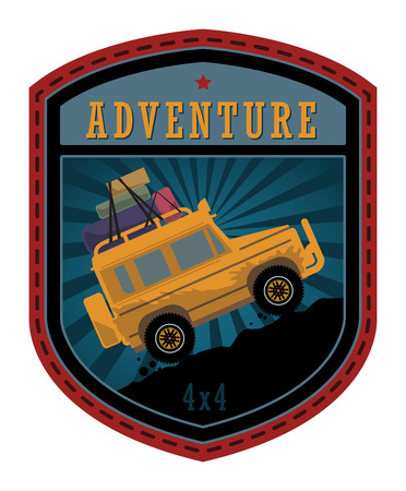 Off-road adventure label or sign Vector