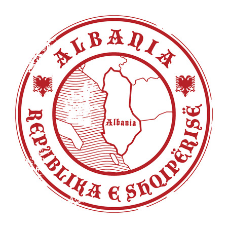 albany: Grunge rubber stamp with the name and map of Albania Illustration