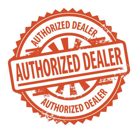 autorizacion: Grunge sello de goma con el distribuidor autorizado del texto escrito dentro del sello