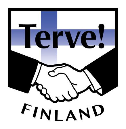 pacto: Finlandia bandera y el apret?n de manos de negocios