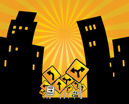 mega city: Houses silhouettes on abstract background