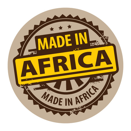 Abstract grunge rubber stamp with the text Made in Africa written inside the stamp Vector