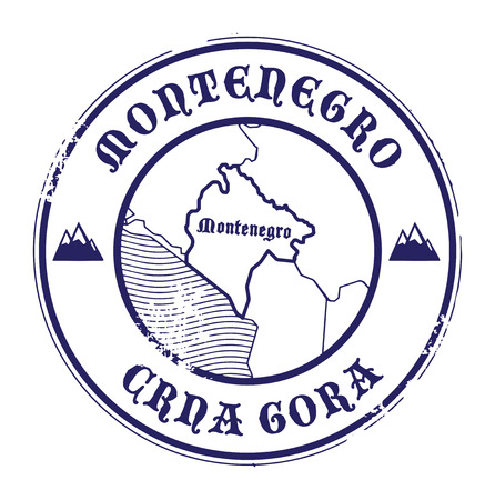 Grunge rubber stamp with the name and map of Montenegro