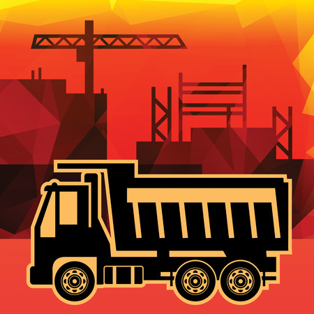 Dump truck on industry background Stock Vector - 22470657