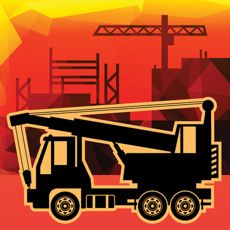 Crane truck on industry background Vector