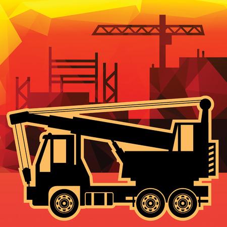 truck crane: Crane truck on industry background