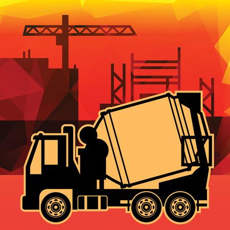 dumptruck: Concrete mixer truck on industry background