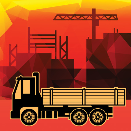 dumptruck: Delivery truck on industry background Illustration