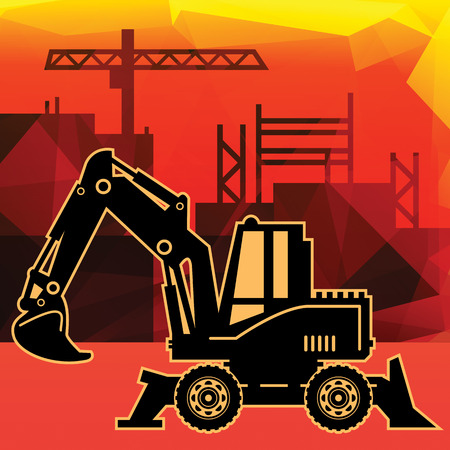 Excavator on abstract background Vector