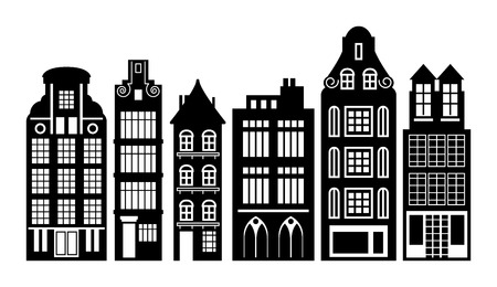 Old Holland houses set Vector