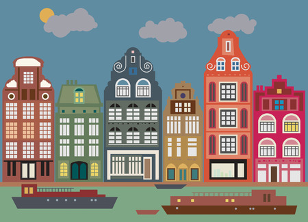 the netherlands: Gebouwen in Amsterdam Stock Illustratie