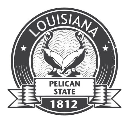 pelicans: Stamp with name of Louisiana Illustration