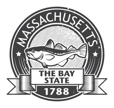 Grunge Stempel mit dem Namen des Massachusetts