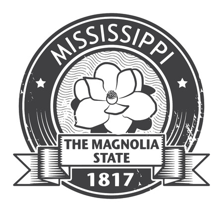 magnolia flower: Stamp with name of Mississippi