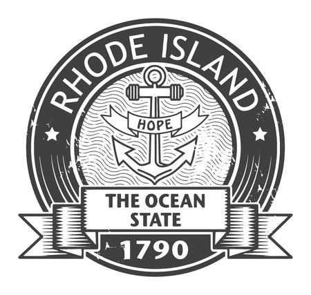 Grunge Stempel mit Namen Rhode Island