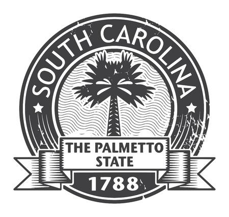 carolina del sur: Grunge sello de goma con el nombre de Carolina del Sur
