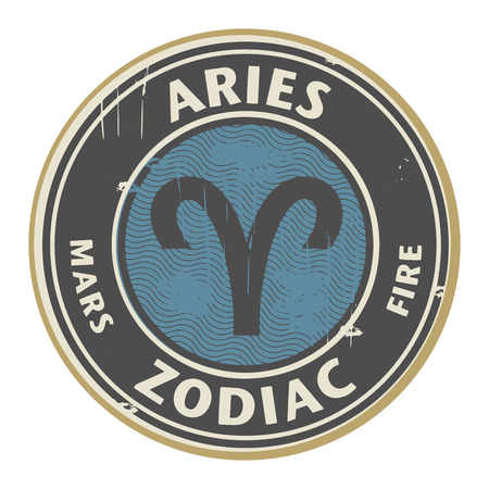 destiny: Abstract grunge rubber stamp with the Zodiac Aries symbol horoscope