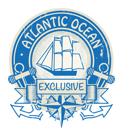 atlantic ocean: Grunge rubber stamp with the words Atlantic Ocean written inside the stamp Illustration