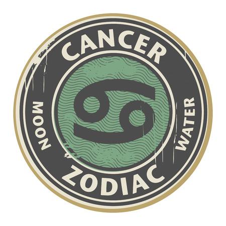 cancer symbol: Grunge sello de goma con el s�mbolo del hor�scopo del zodiaco c�ncer