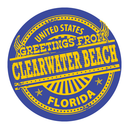 Grunge color stamp with text Greetings from Clearwater Beach, Florida