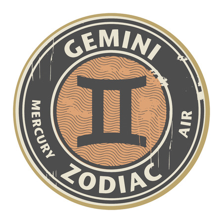 fortunetelling: Abstract grunge rubber stamp with the Zodiac Gemini symbol horoscope