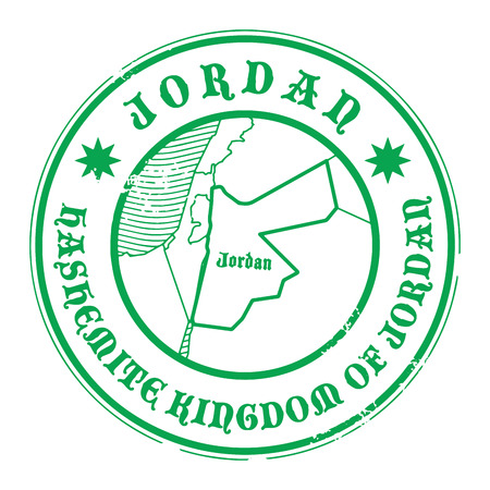 jordan: Grunge rubber stamp with the name and map of Jordan