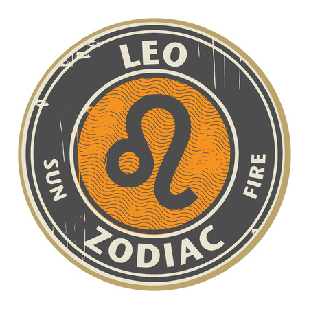 Abstract grunge rubber stamp with the Zodiac Leo symbol horoscope
