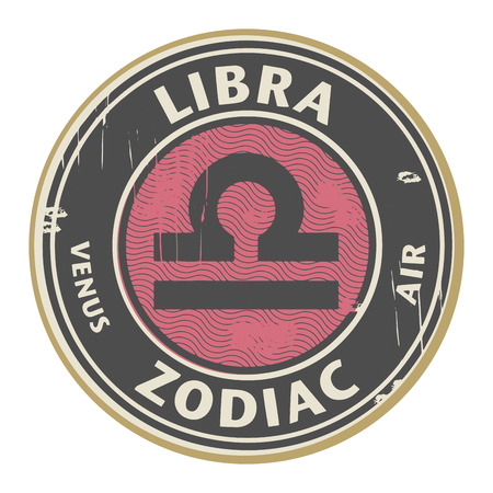 fortunetelling: Abstract grunge rubber stamp with the Zodiac Libra symbol horoscope