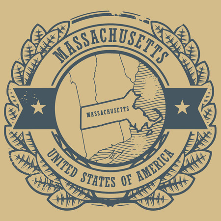 Grunge rubber stamp with name and map of Massachusetts, USA Vector