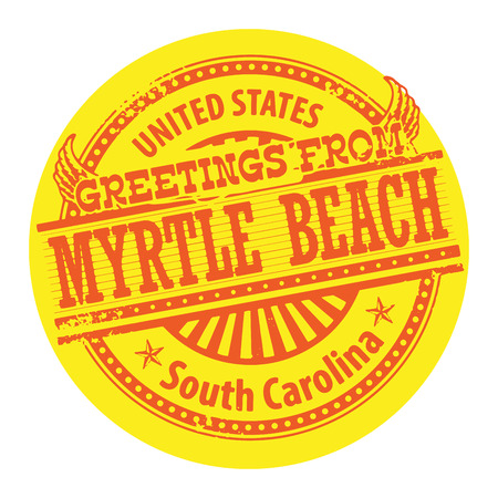 carolina: Grunge color stamp with text Greetings from Myrtle Beach, South Carolina