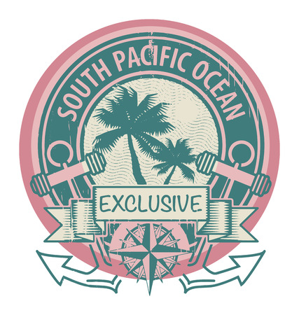 Grunge rubber stamp with the words South Pacific Ocean written inside the stamp Ilustração
